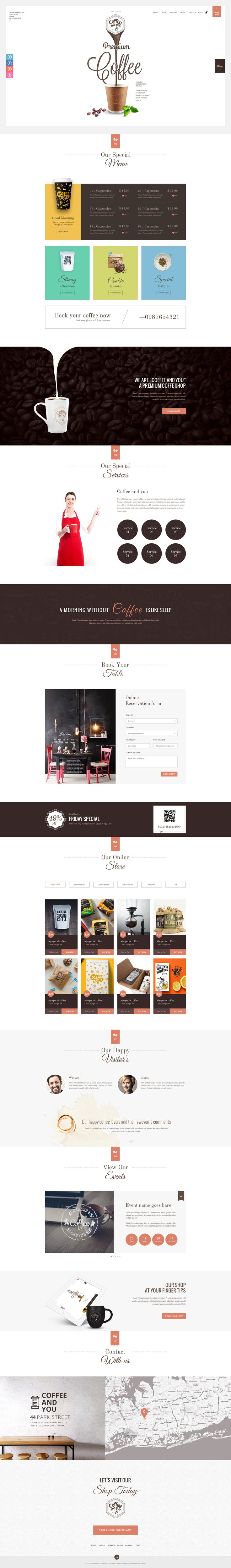 Coffee and You   Multipurpose Cafe and Restaurant PSD Theme  This theme is exclusively made for food industry. Here we specially focus on coffee shop, but those who want to use this theme for their...