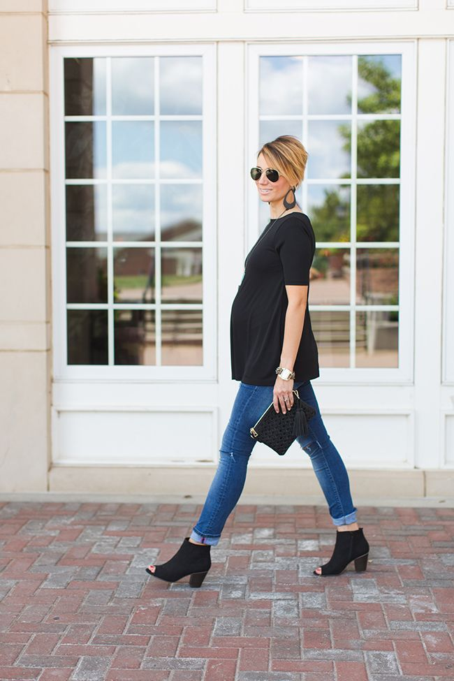 ONE little MOMMA: Black Peep Toe Boots and Turquoise Details