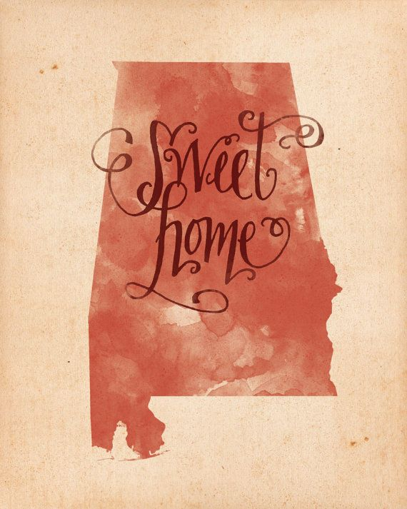 Might have to get @Kristen Vasgaard to make me one of these in purple! Sweet Home Alabama print by penmeetpaper on Etsy, $16.00