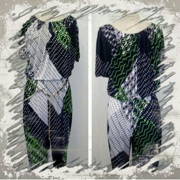 Priced to sell- Chained belt Romper Be BOLD in Navy Blue White and Green skinny ankle romper. Paired great with strappy heels Pants Jumpsuits & Rompers