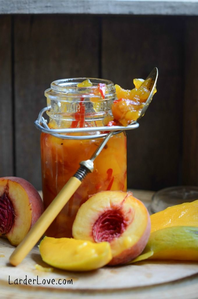 a super easy and tasty recipe for mango and peach chutney. Save those summer flavours to enjoy all year round .www.larderlove.com