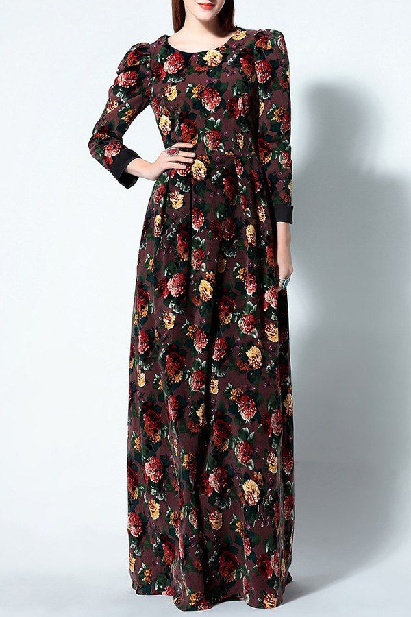 Floral Print Round Collar Long Sleeve Maxi Dress