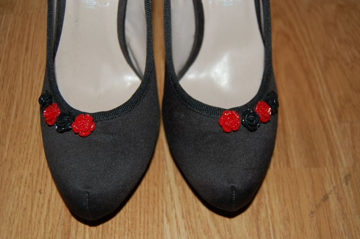 red rhinestone heeled shoes by Houseofbecca on Etsy