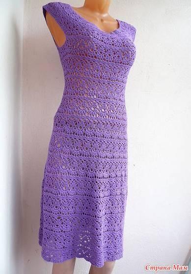 Круглая кокетка крючком платье