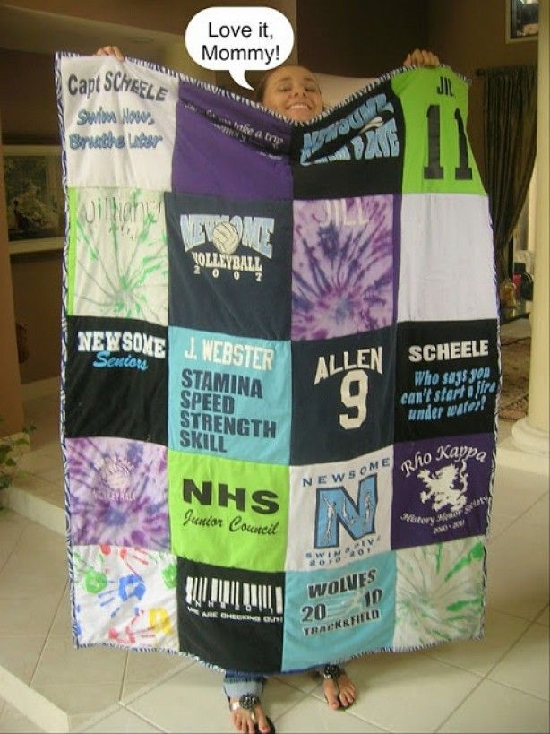 Oude T-shirts maken samen een quilt-deken