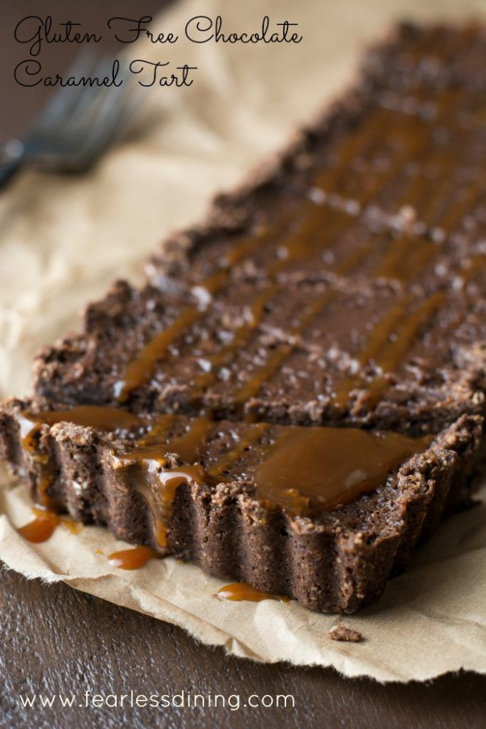 Gluten Free Chocolate Caramel Tart is a dark chocolate lover's delight. Found at http://www.fearlessdining.com