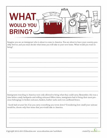 Worksheets: Luggage for Ellis Island