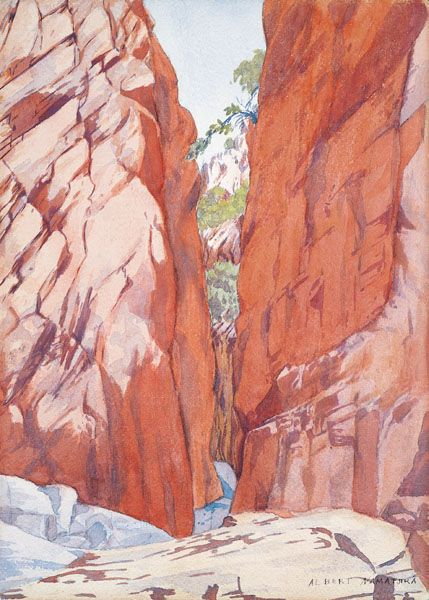 Albert Namatjira Standley Chasm c.1942-49 watercolour and gouache over pencil on paper Collection of Dr Beverley Castleman Melbourne
