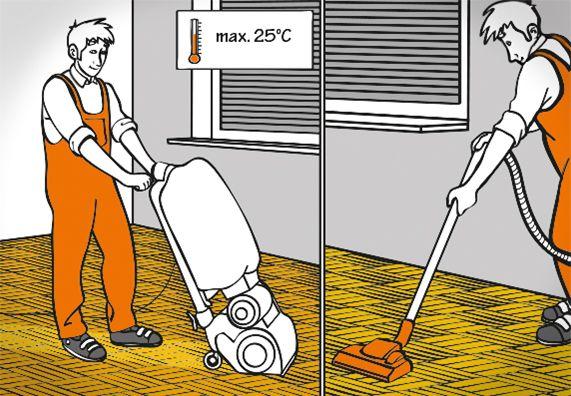 1. Heimwerker schleift Parkett mit Schleifmaschine bei passender Raumtemperatur (max. 25°C) ab. 2. Heimwerker säubert Parkettboden mit Staubsauger vor dem Versiegeln.