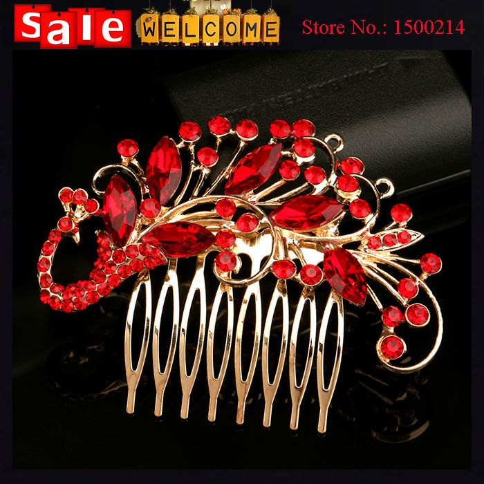 Dourado Longo Vermelho Chinês Tradicional Pente de Noiva Cocar Hairpin Pavão Cristal Strass Pentes De Cabelo Do Casamento Acessórios Para o Cabelo(China (Mainland))