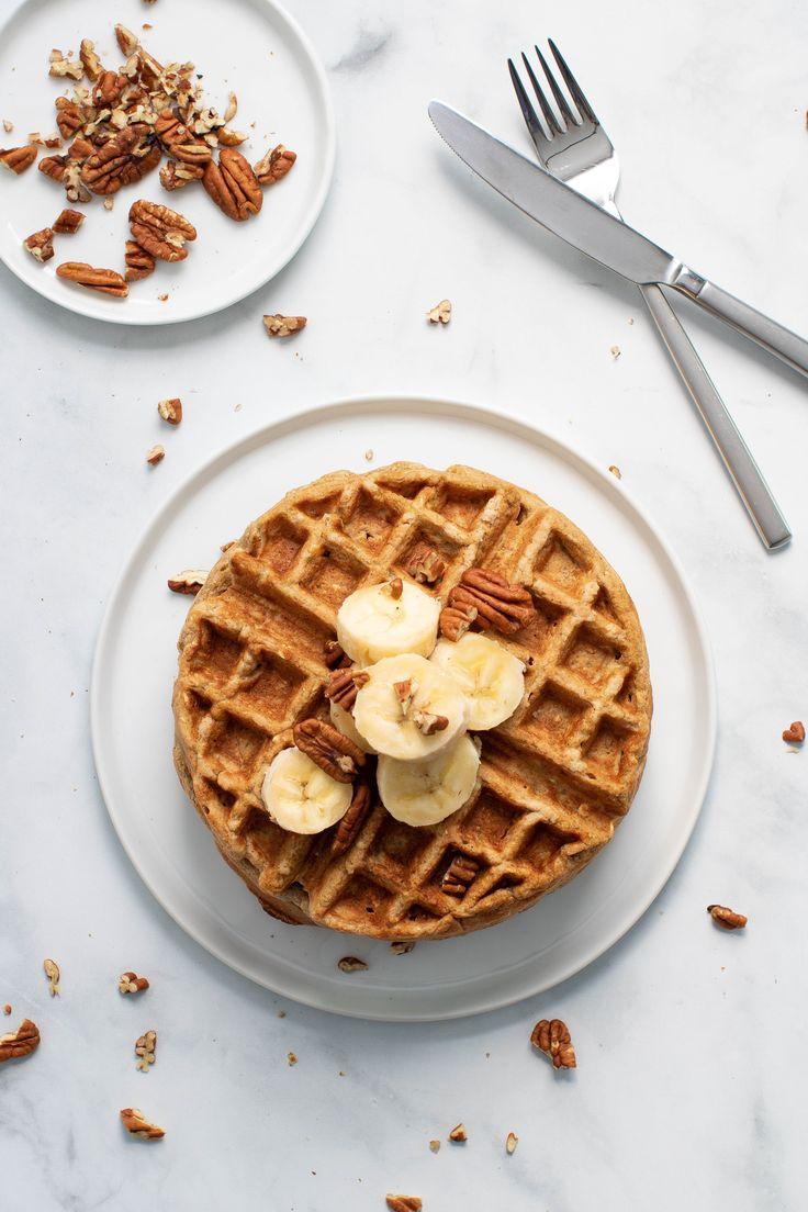Flourless Vegan Banana Oats Waffles