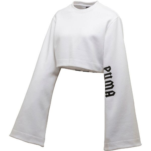 FENTY PUMA by Rihanna Cropped Kimono Sweatshirt, Puma White ($495) ❤ liked on Polyvore featuring tops, hoodies and sweatshirts