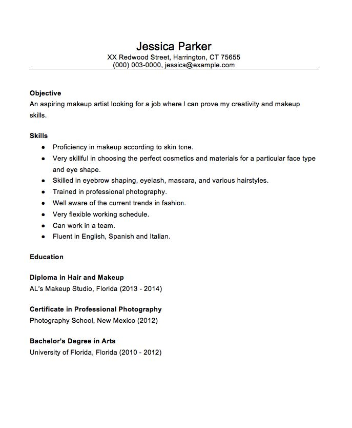 Beginner MakeUp Artist 2016 Resume Sample - http\/\/resumesdesign - Hairdresser Resume Examples