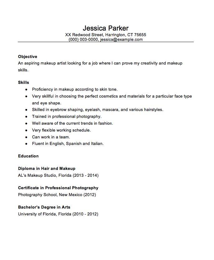 13 Best Resume Images On Pinterest Artist Resume Makeup Artists  Resume For Makeup Artist