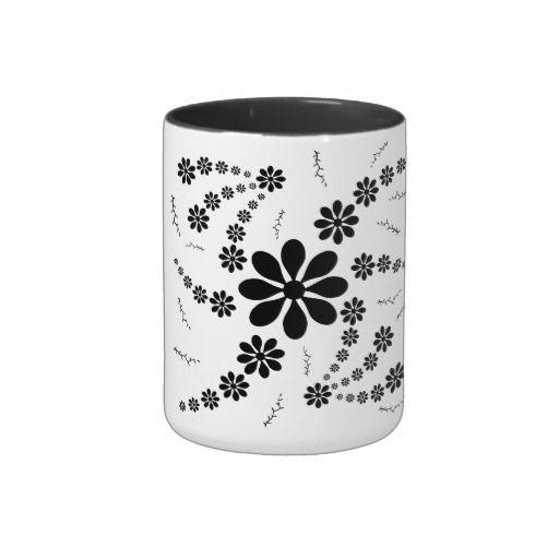 #mug #kitchen Black Flower Patterned Two-Tone Coffee Mug