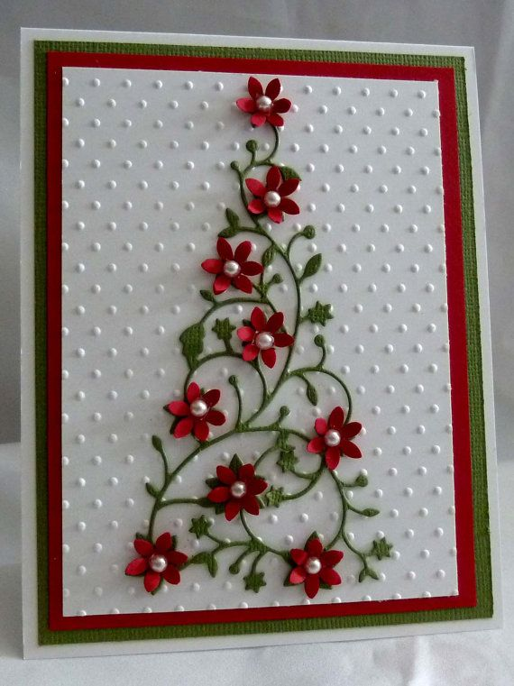 Christmas card...Memory Box lacy Christmas tree with red flowers...delicately delightful in traditional white with red and green...
