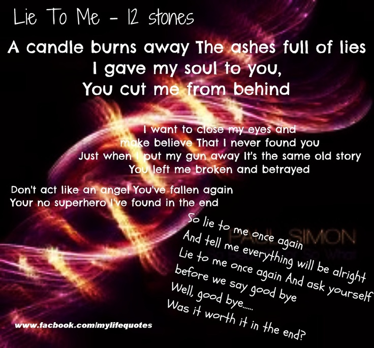 Lyric la la lie lyrics : 11 best 12 stones images on Pinterest | 12 stones, Lyrics and ...