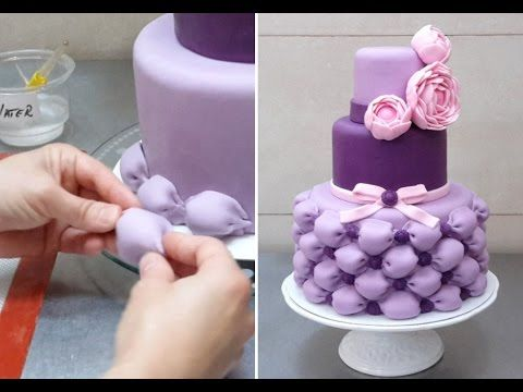 Second half of video - how to make fondant peony flowers roses and stick them to a cake. Billowed Cake - How To by CakesStepbyStep - YouTube