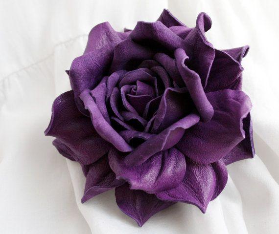 Violet Leather Rose Flower Brooch/Hair clip by leasstudio on Etsy
