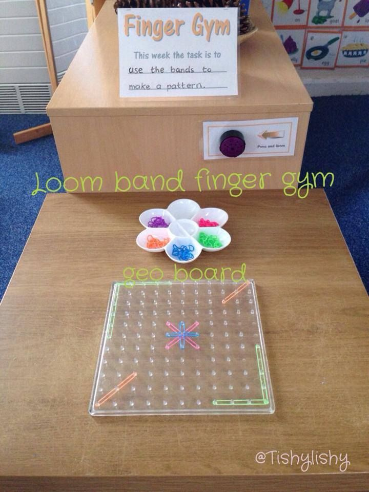 Using loom bands on the geoboards to strengthen fine motor skills from Tishy Lishy