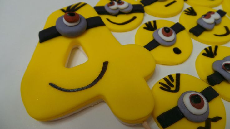 FONDANT MINION birthday set - Edible Minion cupcake toppers and large number. Perfect for that special birthday by anafeke3 on Etsy https://www.etsy.com/listing/211959097/fondant-minion-birthday-set-edible