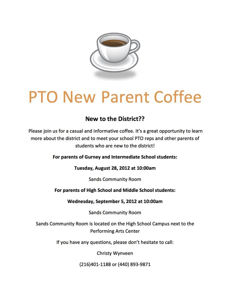 pto flyer - maybe use the coffee idea as an informal get together for potential volunteers/finding chairs for this year's events