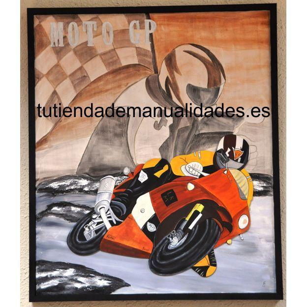 Cuadro moto GP, pintado a mano con silueta de moto.