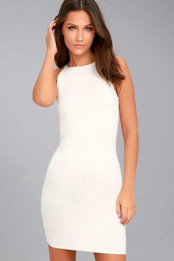 Lulus Exclusive! With the I Bet White Bodycon Dress, we're all in! Soft jersey knit starts at slender straps, and falls to an apron neckline, sleeveless bodice, and bodycon silhouette. Mini hem. #bodycondresscasual