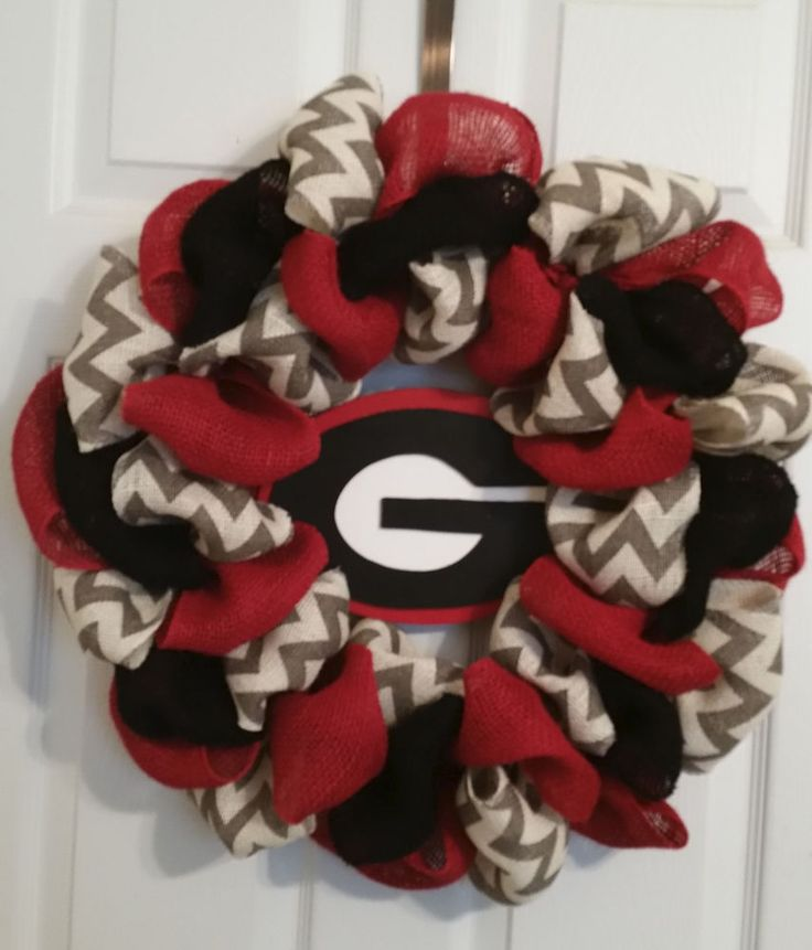 "Georgia Bulldogs Football  Burlap  Door Wreath 24"" #GeorgiaBulldogs"