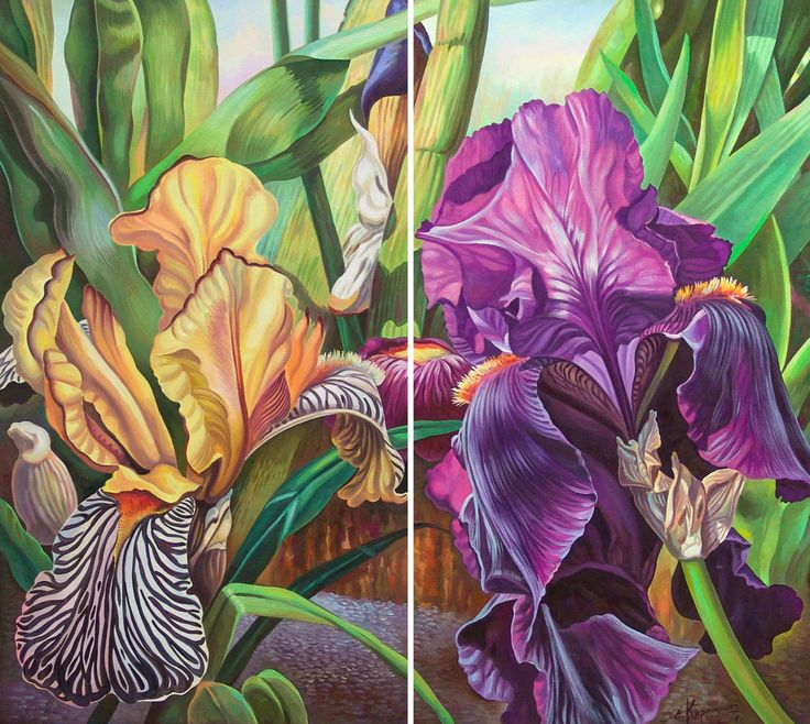 """DIPTYCH 32"""" x  36"""" Painting Flowers Irises on canvas for living room, 20 % OFF SALE! Original Oil Painting, paintings bedroom, Home Decor by OliviaArtGallery on Etsy"""