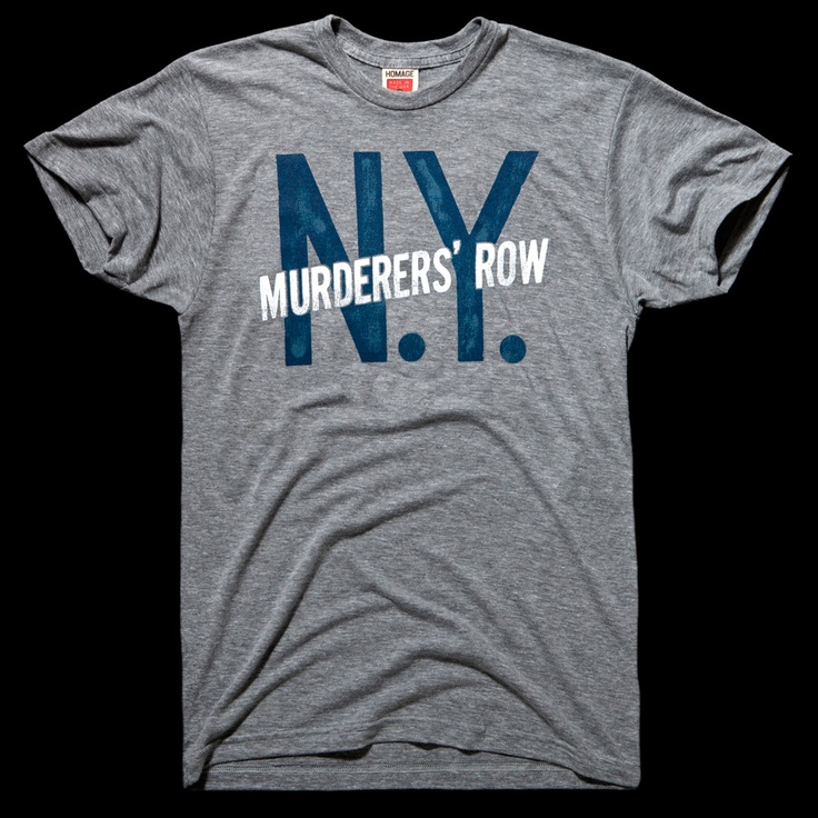 Cool t-shirt bearing the moniker of the dangerous 1927 Yankees lineup, containing (or rather trying to contain) the likes of Babe Ruth and Lou Gehrig.