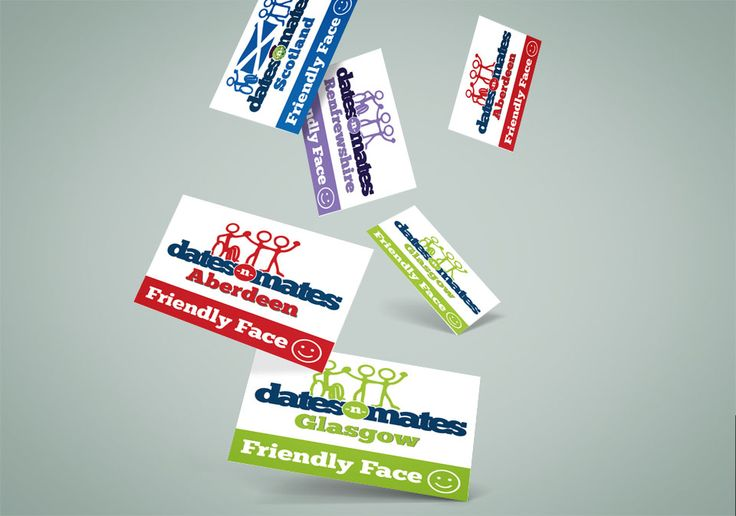 FRIENDLY FACE – Stacks of cards falling down with dates-n-mates Friendly Face for all local branches.  #card #design #branding #logo #identity