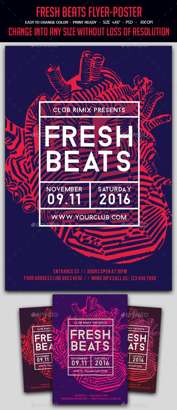 Fresh Beats FlyerPoster — Photoshop PSD #line #template • Available here →…