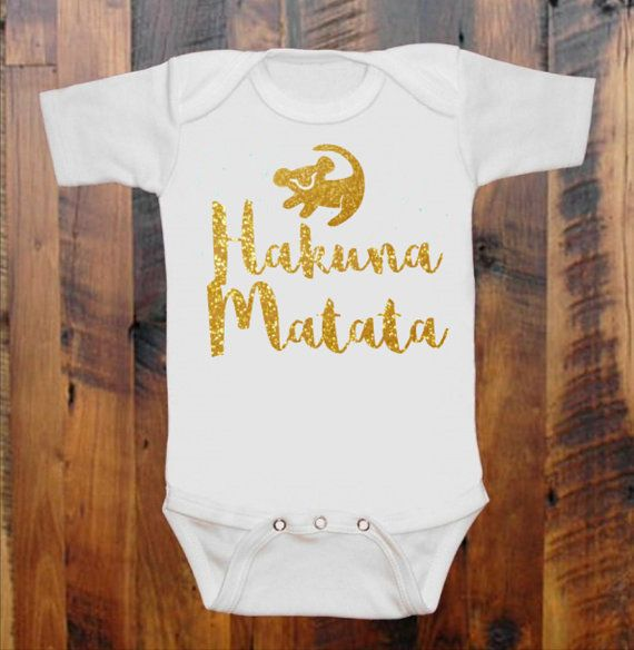 Lion King Inspired Baby Bodysuit - Hakuna Matata - Simba - Geeky Onesie - Unique Cute Baby Onesie Glitter