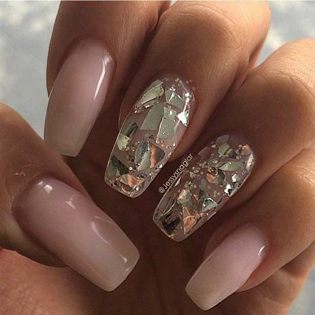Nude Coffin Nails with Golden Shattered Glass Accent Nail