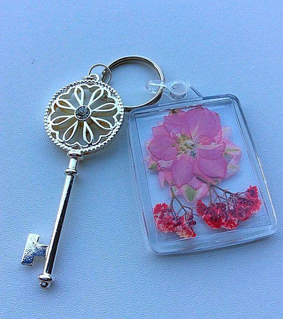 Keyrings House keyrings Pressed flowers Secret by PetalcraftArt