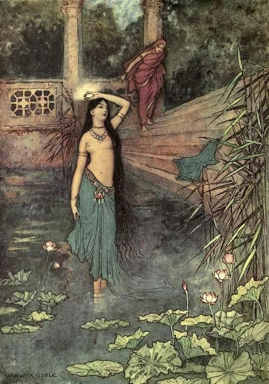 She rushed out of the palace and came to the upper world...Warwick Goble