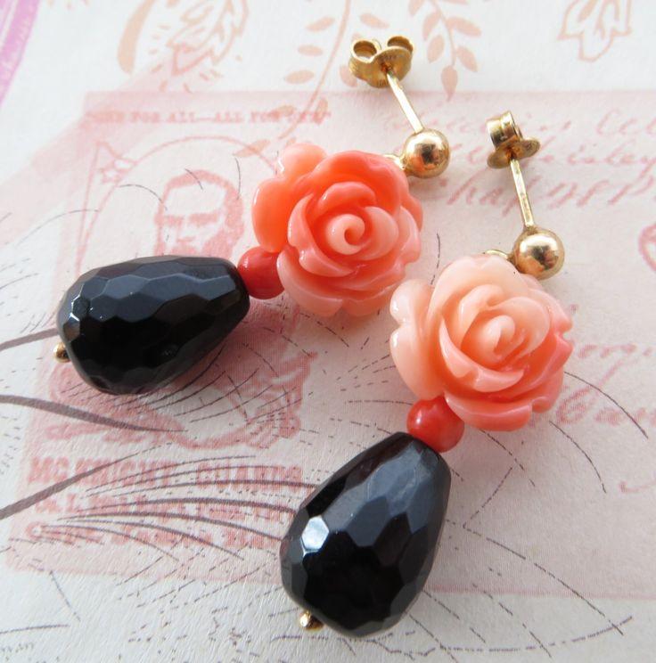Orecchini con rose, corallo e gocce agata nera argento 925 placcato oro 18 K Sofia's Bijoux : Orecchini di sofiasbijoux