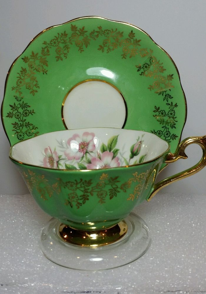 ROYAL ALBERT Bone China ENGLAND Tea Cup Saucer beautiful green floral w Gold  #RoyalAlbert