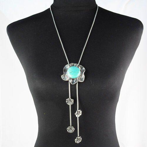 Старинное Серебро Бирюзовый Камень ожерелье с Цветок Стиль Кулон Кисточкой Длинное Ожерелье цепь, nl-1200