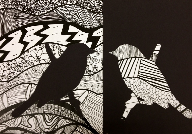 I love this. Patterns, doodling, mirror images, silhouettes, etc. etc.