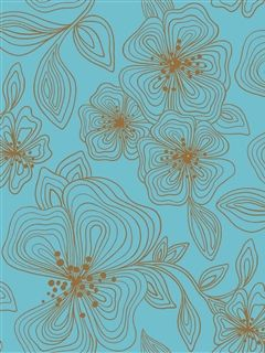 Stacy Garcia Wallpaper l sky blue and brown hand drawn flowers | AmericanBlinds.com