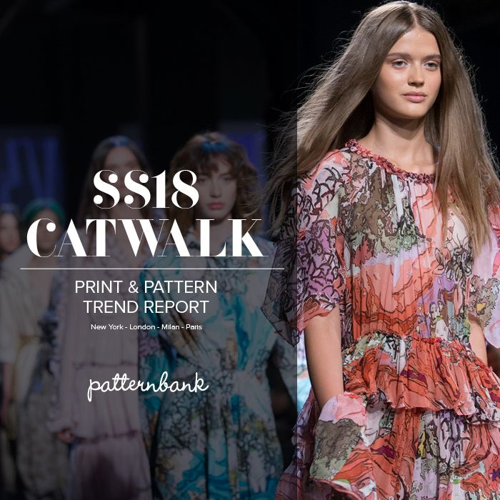 Patternbank brings you our latest in-depth catwalk trend report. Highlighting the key Spring/Summer 2018 Print and Pattern trends from the latest New York, London, Paris and Milan catwalk and runway shows. The team has gathered information from the designer's collections and compiled a selection of the most prominent print looks trending for SS 2018 together with an insight into the key colours for the season.