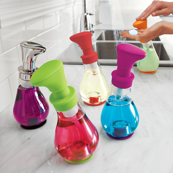 Solutions --- Foam Pump turns a little liquid soap into rich, creamy foam.  Think of the money you'll save by reducing soap use up to 75%! You don't have to replenish soap as often with this pump, plus the clear polycarbonate makes it easy to see when it is time to refill.