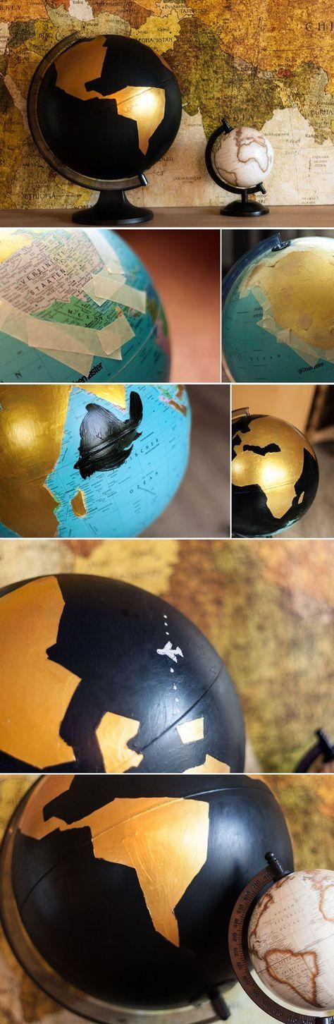 Basteln für Erwachsene - Weltkugel umstylen mit Goldfarbe *** DIY Globe Project. Globe with golden and chalkboard paint. Globus mit Tafelfarbe.