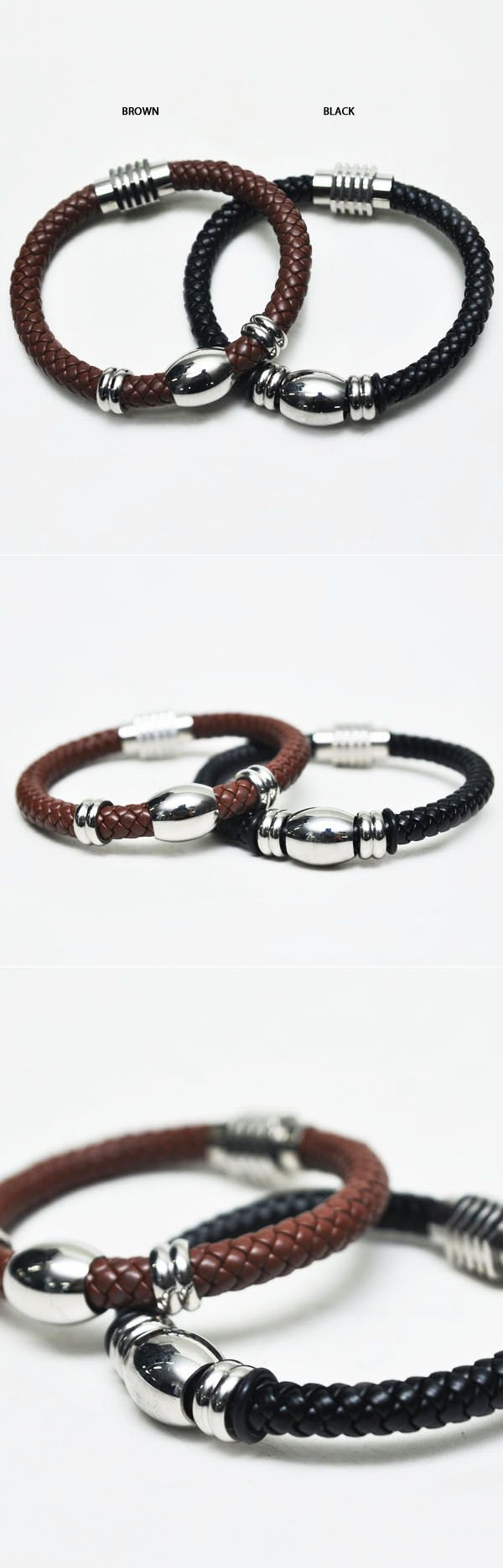 Mens Leather Braided Magnetic Cuff Bracelet By Guylook