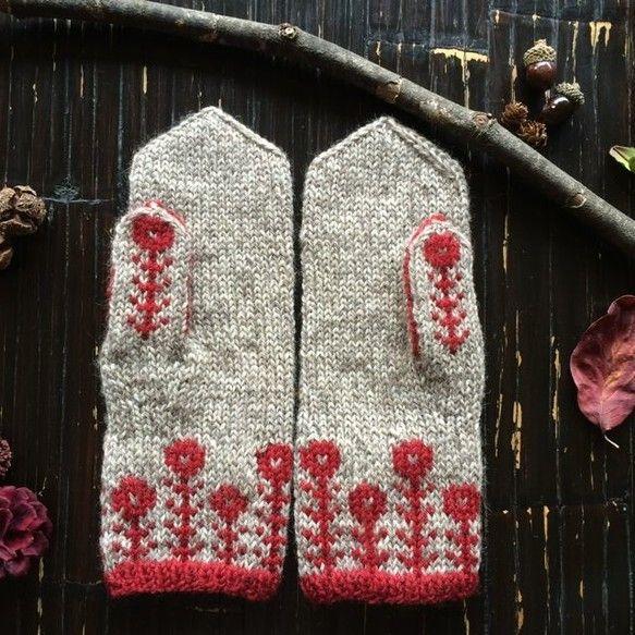 マーガレットのツートンミトン【紅】|手袋・ミトン|GiririrA kao|ハンドメイド通販・販売のCreema