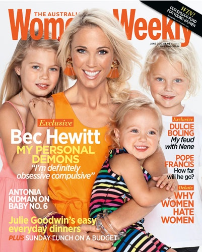 Bec Hewitt and her beautiful kids on the cover of the June issue of The Australian Women's Weekly.
