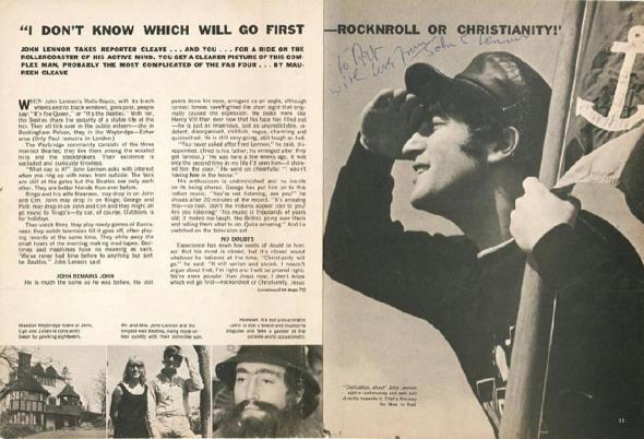 Хирург из Нью-Йорка заплатил 12 713 долларов за сентябрьский выпуск газеты «Datebook» 1966 года, подписанный Джоном Ленноном. В газете есть знаменитая цитата Леннона, что «Биттлз» популярнее Иисуса. (Courtesy of rrauction.com)