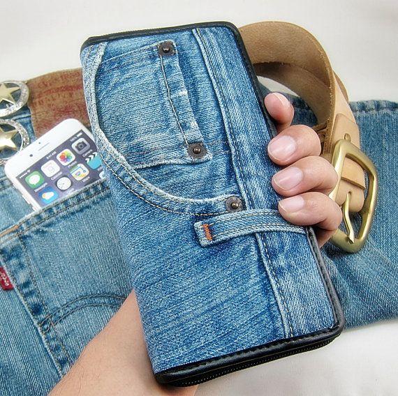 MONEDERO único hecho a mano Vintage abierto cremallera larga bolsa de mano monedero JEANS Vintage bolso cremallera tarjeta caliente ranura bolsillo Interior